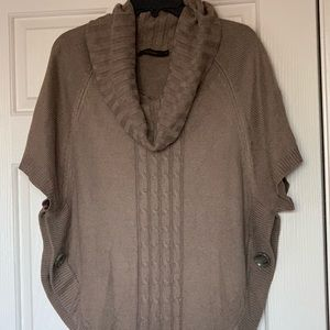 Tan cowl neck short-sleeve sweater
